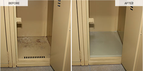 Locker bottoms, before-after